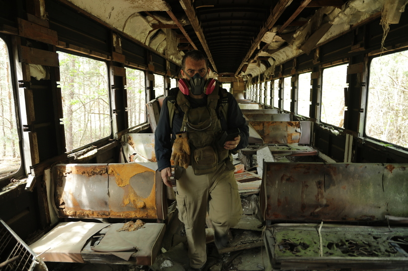 SCIENCE CHANNEL  Philip Grossman on an abandoned train at the Chernobyl site.