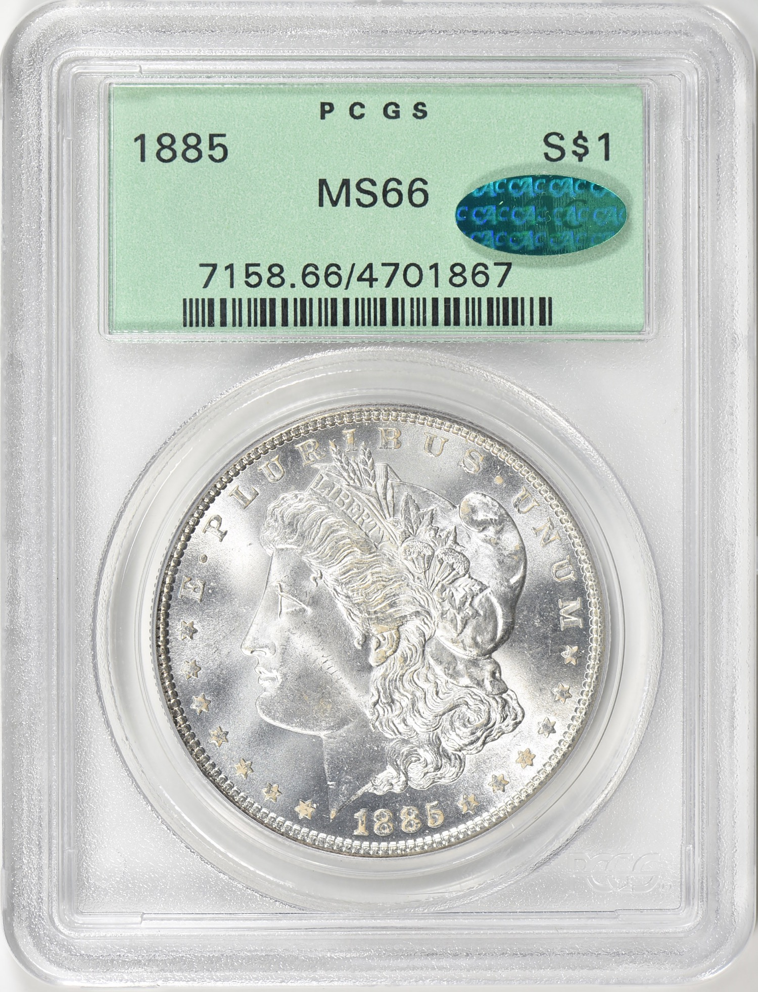 1885 MS66 CAC OGH - Acquired GreatCollections May 20, 2018. Continuing my collection of Gem Morgan's in CAC | OGH