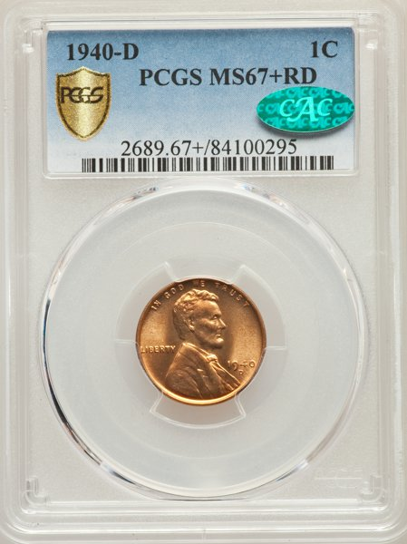 1940-D MS67-RD CAC - Acquired Heritage Auctions 6/14/18. This fills a hole in the collection. No auction history on PCGS for 1940-D Lincolns in this grade and it's the first I've seen available. Naturally it went for more than the published price guide. Happy to pay it, I don't think I could have been outbid.