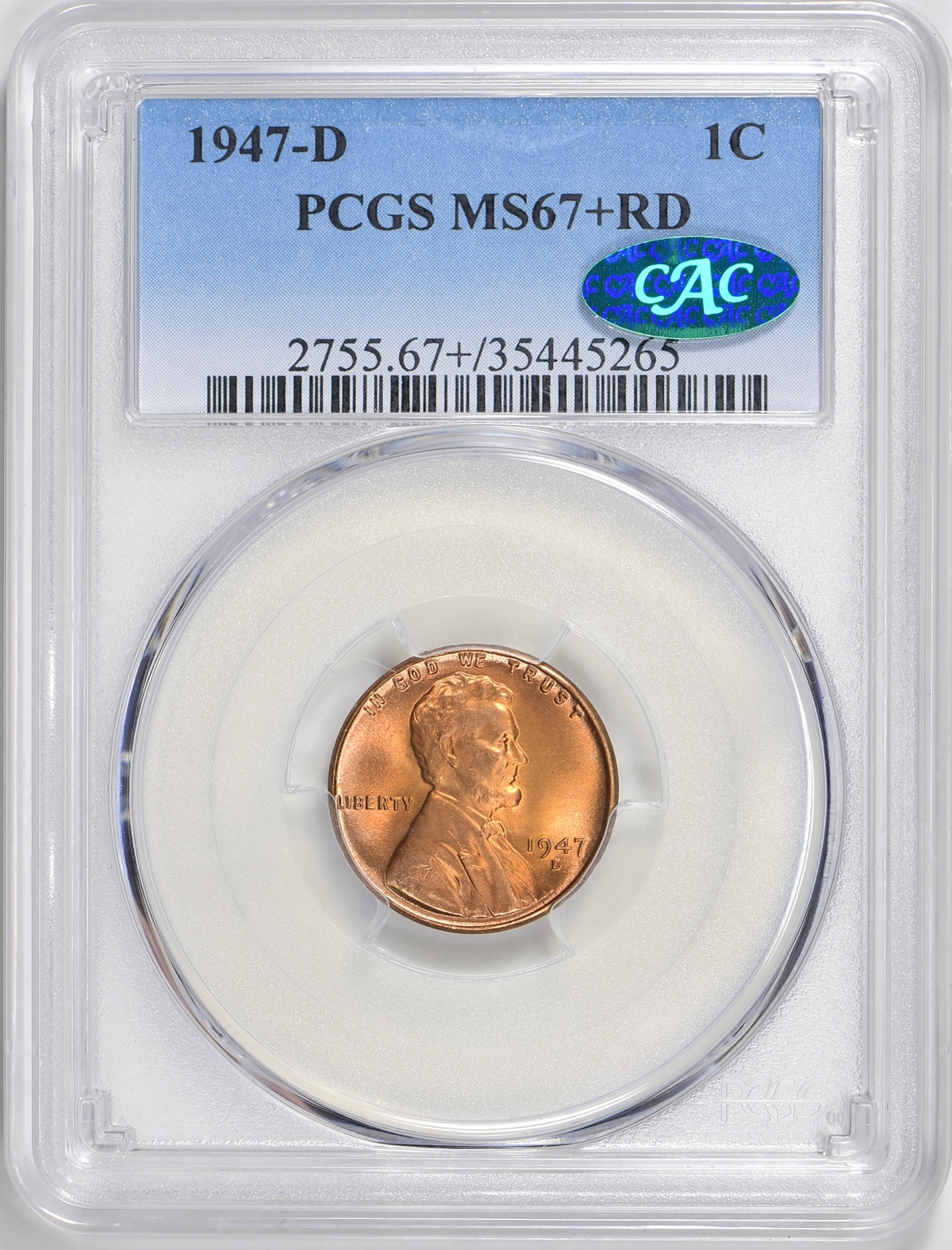 1947-D MS67+RD CAC - Acquired GreatCollections 7/1/2018. Replaces a MS67RD. An example of an undervalued coin based on the numbers. It went for a little over $2,000 even though CAC, only six in this grade and none finer. In the highly competitive Lincoln set registries these are the coins in demand.