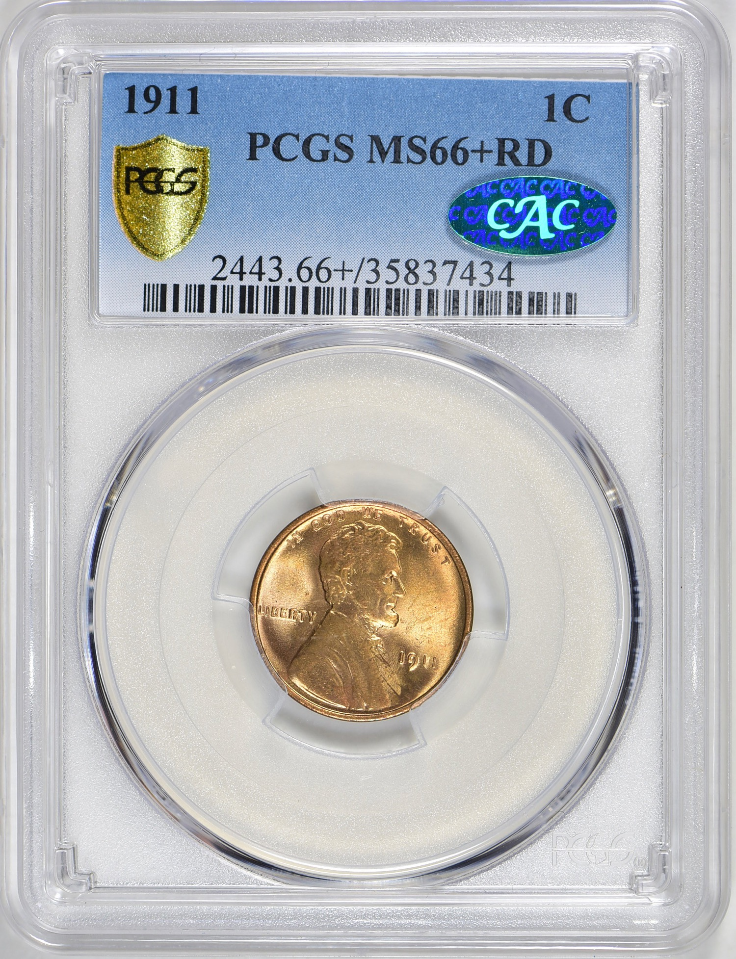 1911 MS66+RD CAC - Acquired GreatCollections 9/30/18. Freely admit to overpaying but this one was a must have. Early Lincolns this nice are hard to come by especially without spots and always seem to go for more than the PCGS price guide. No registry bump though.