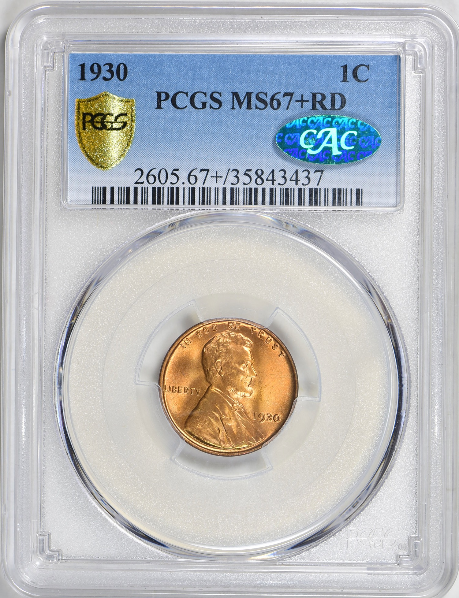 1930 MS67+RD CAC - Acquired GreatCollections 9/30/18. Replaces a MS67RD CAC. Note how many coins have a Gold Shield now - a likely result of the recent PCGS quarterly specials. I sent in two dozen coins for new holders and pictures.