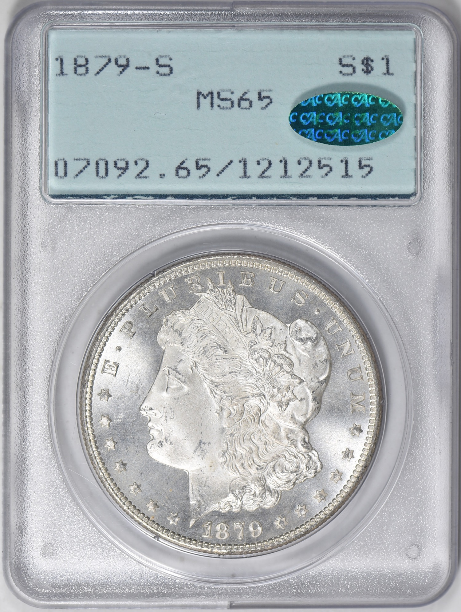 1879-S MS65 CAC OGH (1st Gen) - Acquired 2.24.19 GreatCollections. Another Morgan for the Gem CAC OGH collection. No CC Morgan registry set started yet and probably never will as there are some coins required that go for over $10k in AU and that is without any in PL and DMPL designations