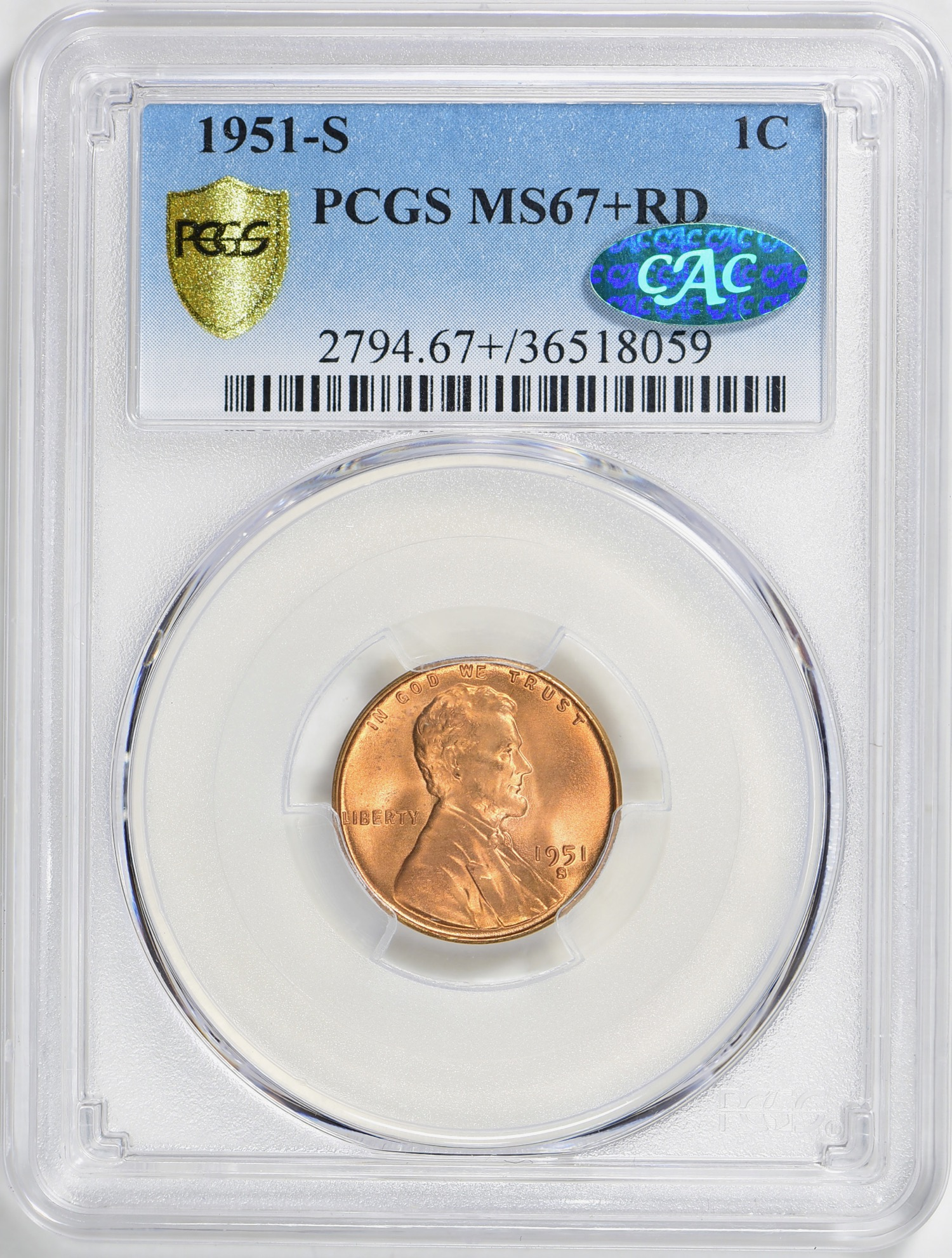 1951-S MS67+RD CAC - Acquired 3.24.19 GreatCollections. Replaces a 67RD CAC. Another top pop CAC for the registry set. CC appreciative that True View images are becoming the norm. CC always send coins off for pictures and a reholder when PCGS runs a special. CC abhors a cracked, scratchy holder.