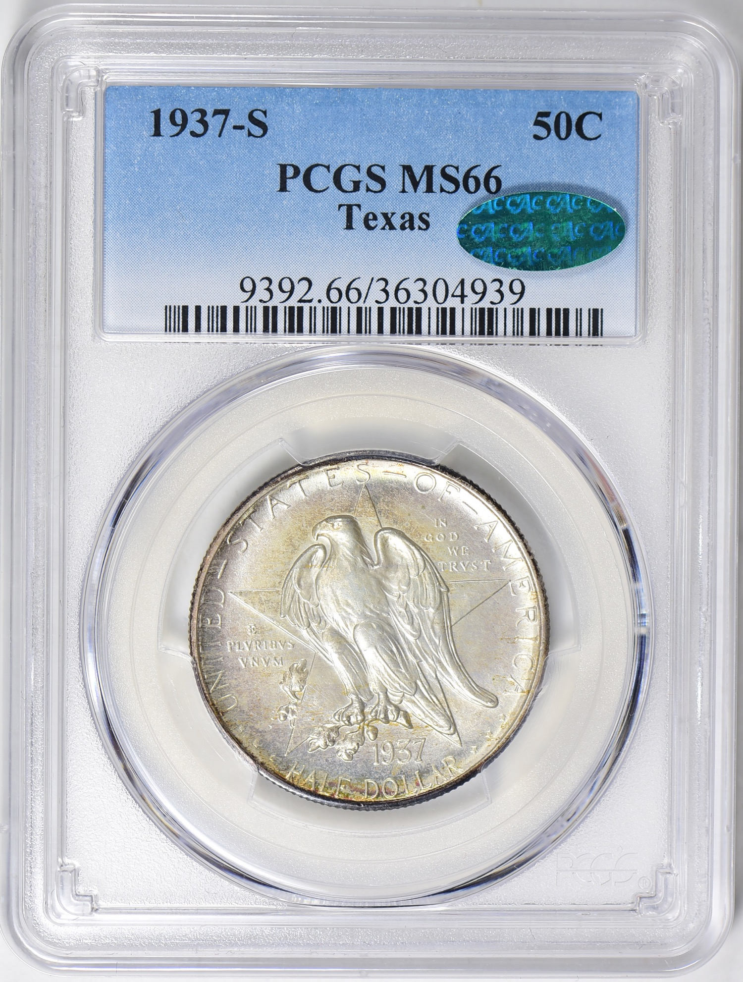 """1937-S Texas MS66 CAC - Acquired 4.7.19 GreatCollections. CC usually prefers """"white"""" silver coins but this has some appealing toning that doesn't show well here. CC now has 9 of 13 Texans for this registry set - all MS66 CAC. This is a great example of a doable, affordable registry set. Many of these coins were under $300 and none were over $600."""