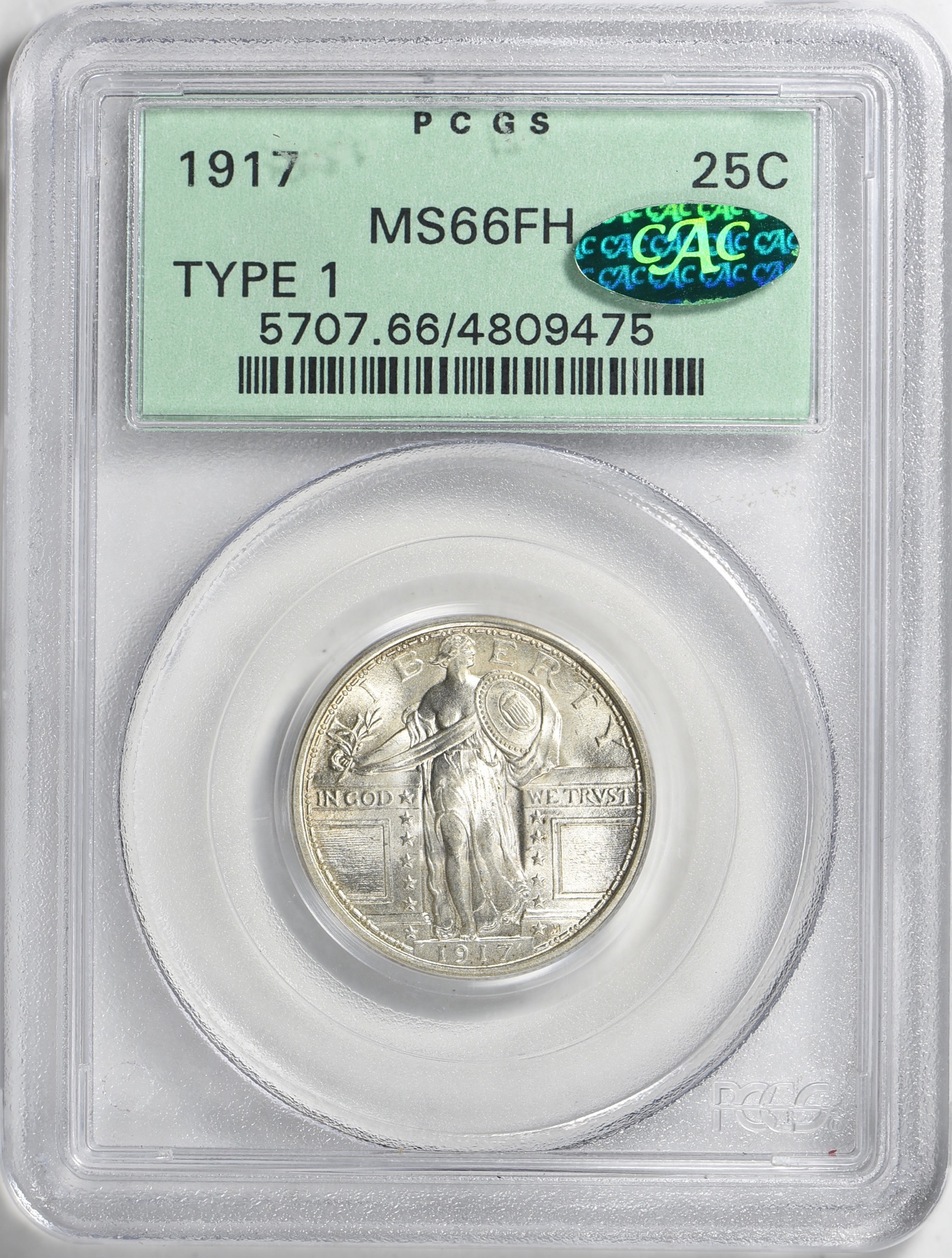 1917 Type 1 MS66FH CAC OGH - Acquired 4.14.19 GreatCollections. I have wanted a nice Type 1 Standing Liberty since I was kid. This will be in a 20th Century CAC OGH type set I plan to gradually assemble. Bidding was fierce but as this is a birthday present from Mrs. CC I felt comfortable bidding aggressively. CC can't see how this wouldn't get a plus on a reconsideration submission.