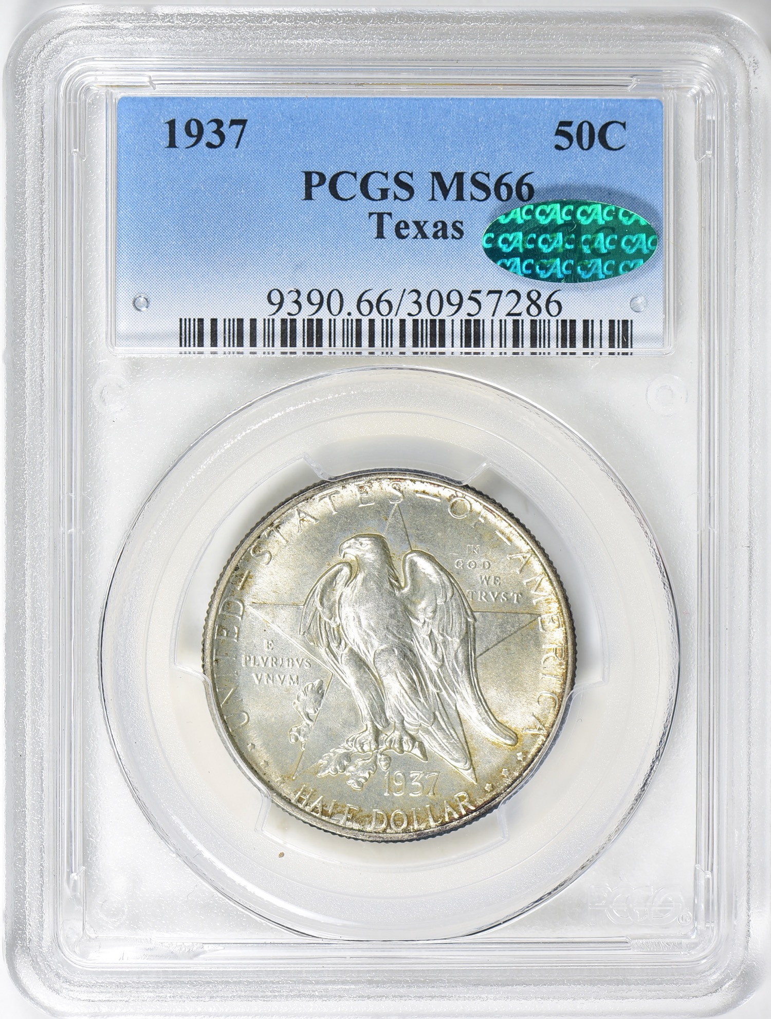 1937 Texas MS66 CAC - Acquired 5.19.19 GreatCollections. CC now has 10 of 13 Texans for this registry set - all MS66 CAC. Commemorative's offer a lot of collecting options at affordable prices. Most go for a few hundred or even less in gem condition with a CAC sticker.