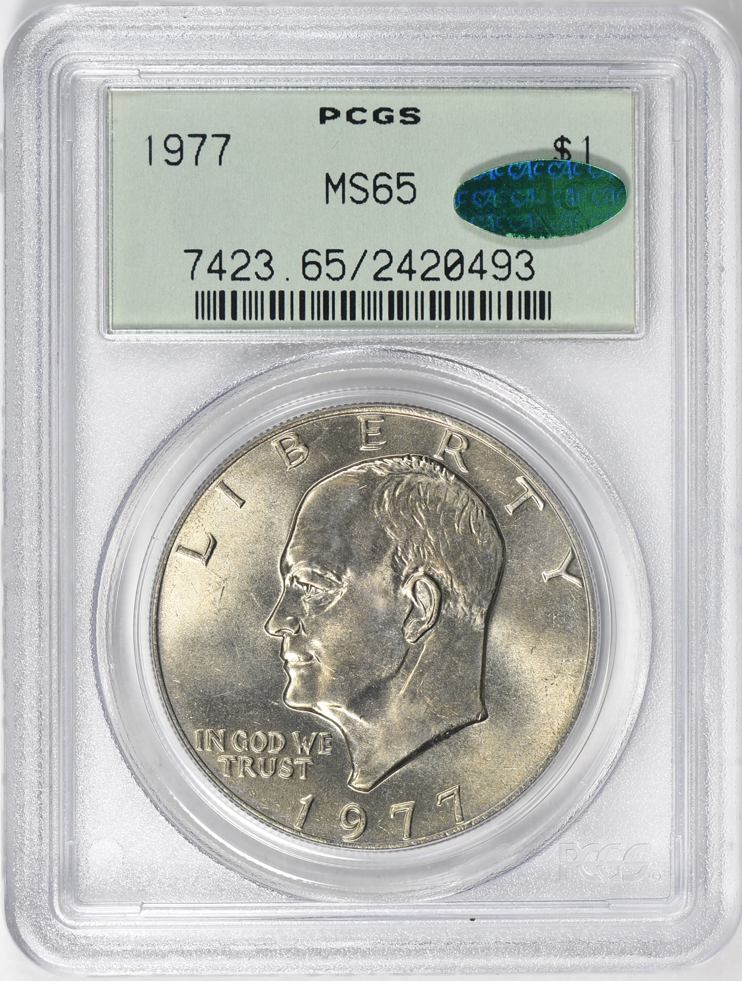 1977 MS65 CAC OGH - Acquired 5.19.19 GreatCollections. Ike's don't win any beauty contests but still garner substantial collector interest. This is for my 20th Century Gem CAC OGH type set.