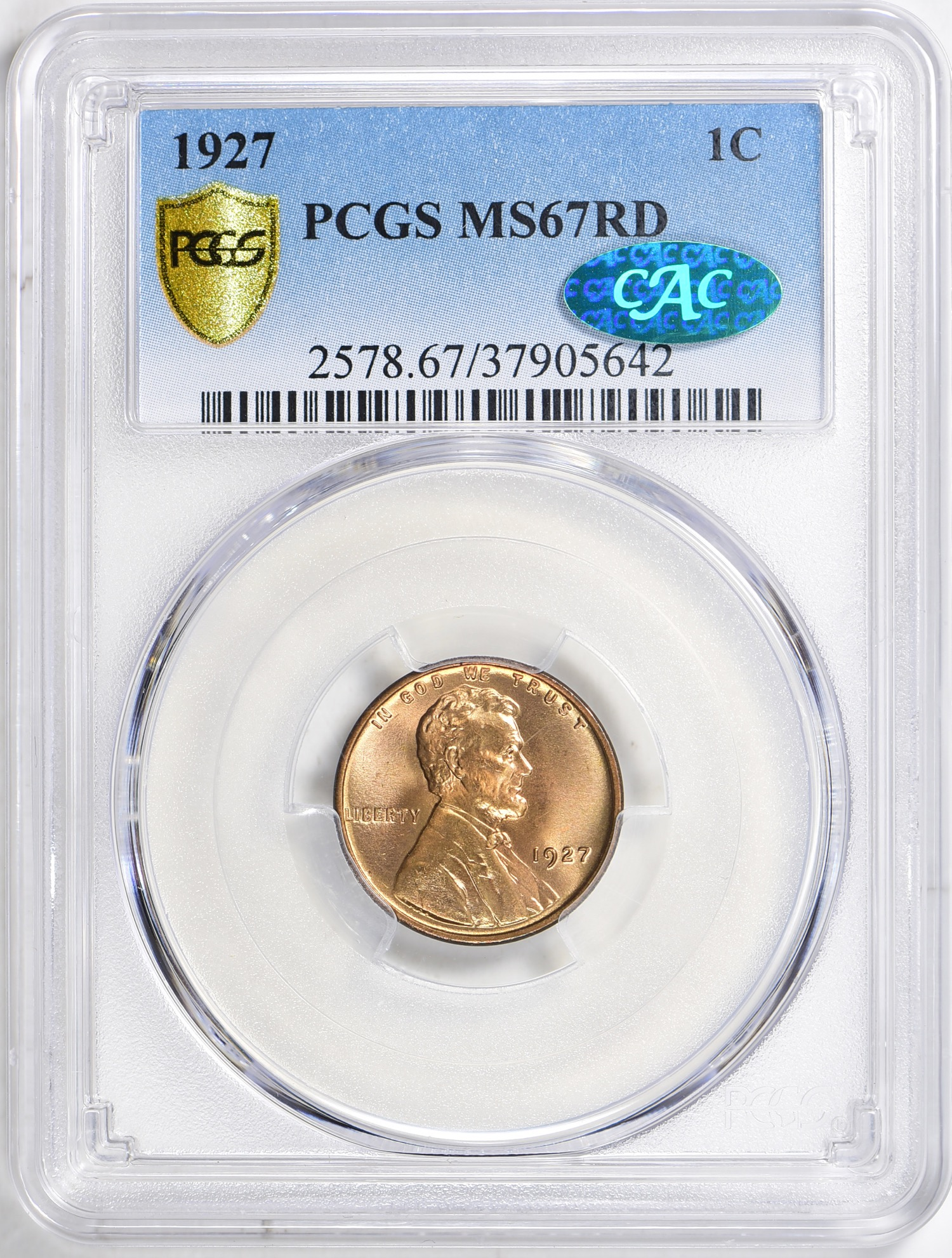 1927 MS67RD CAC - Acquired 6.19.19 GreatCollections. Pop is 55/15. Pre 1930 Lincolns always go for more than later coins with similar population numbers.