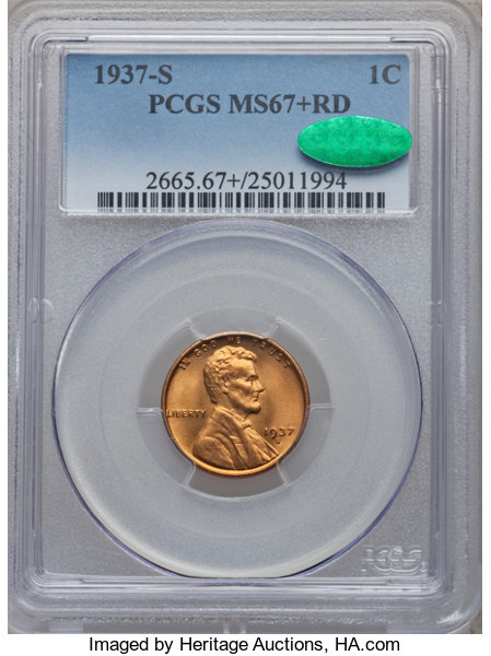 1937-S MS67+RD CAC - Acquired 6.8.29 Heritage Auctions. Pop 28/- so a one point bonus for this coin. Heritage must be monitoring this site as they finally improved their Lincoln photos.