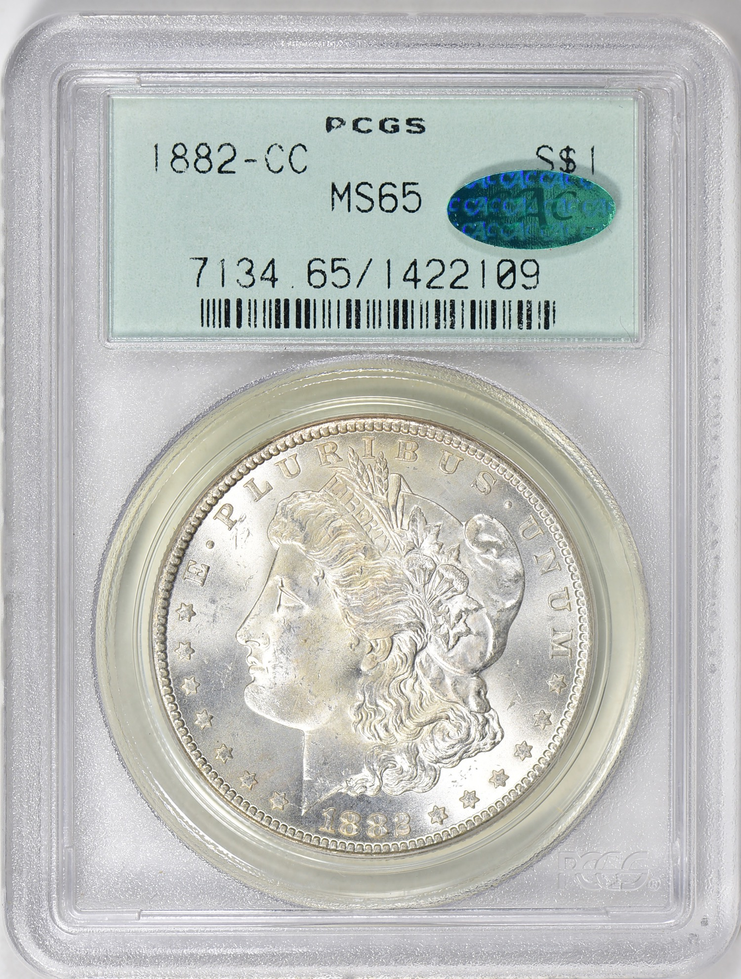 1882-CC MS65 CAC OGH - Acquired 6.30.19 GreatCollections. One more for the Gem CAC OGH Morgan set I am slowly building. It seems more Morgan's are in OGH holders than any other series.