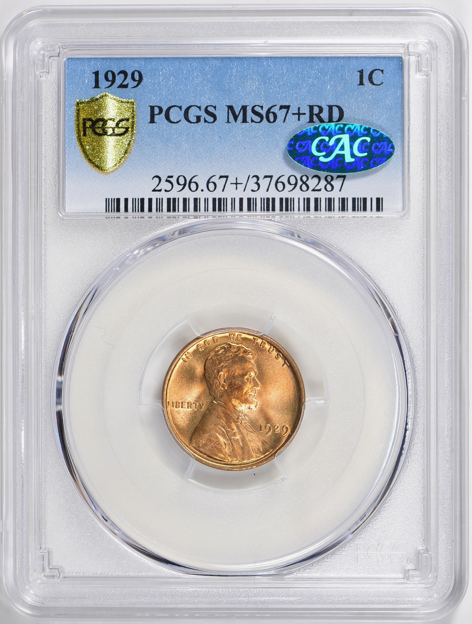 1929 MS67+RD CAC - GreatCollections 7.28.19. CC bid $3,361 and hammer was $4,001. CC dearly wanted the coin. PCGS price guide was $3,850. Winning bid with auction fees was $4,612.50. A 12/- none finer coin.