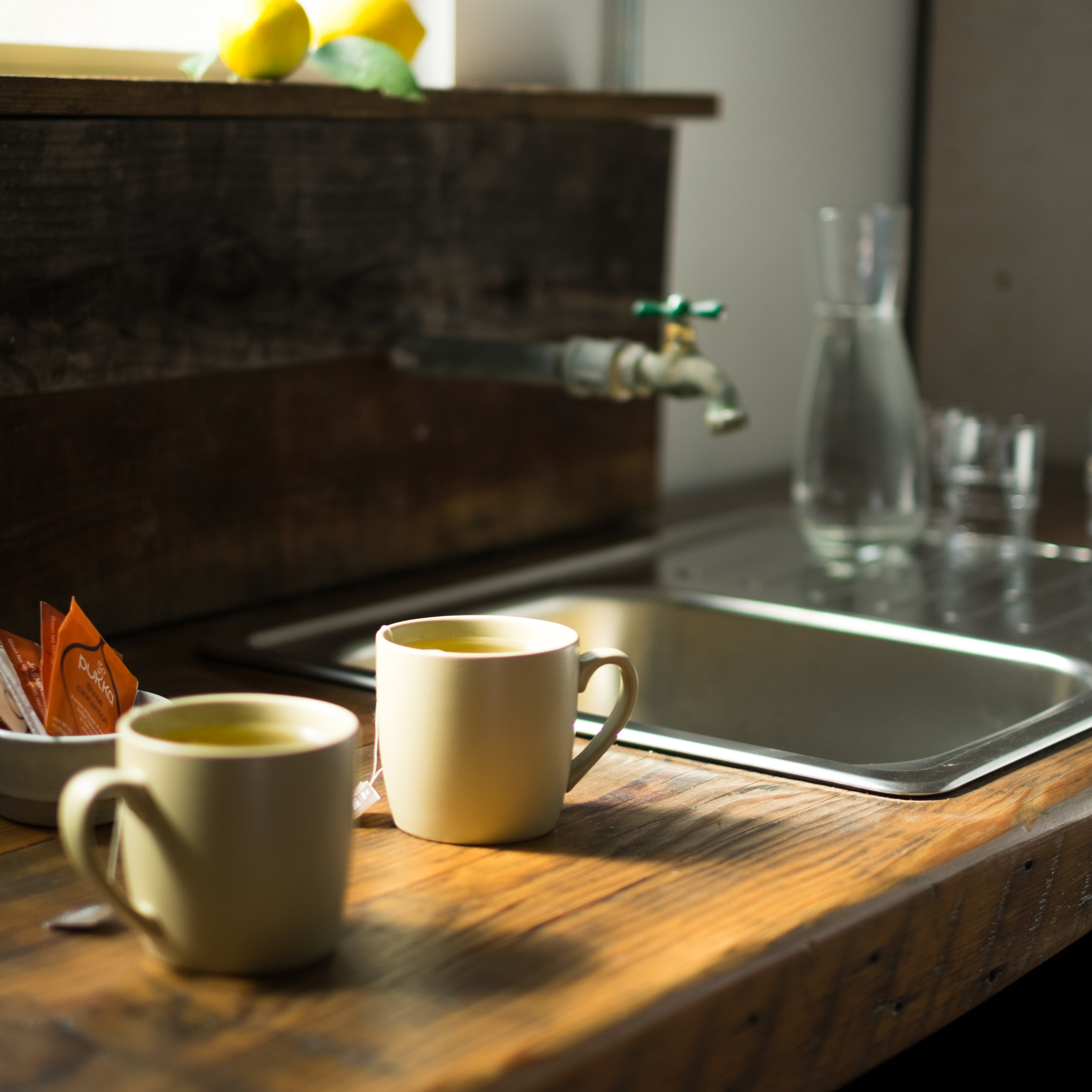 Hospitality - We have a small kitchen, with cups, glasses & flatware that can accommodate coffee, tea, beverage and snack service. We can also fetch your favorite meals and deliver to the set. If you are sleeping over, need a cocktail or want to get your surf on, we have a list of suggestions for you.