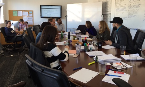 Lindsey (second from right) in the Writers' Room