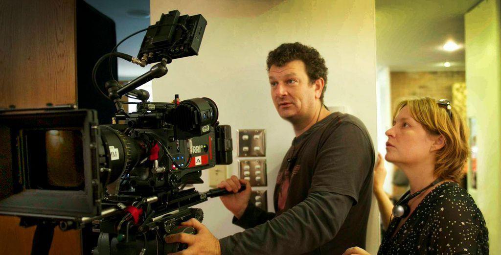 Jen McGowan with Kelly & Cal director of photography Philip Lott (SCA alum)