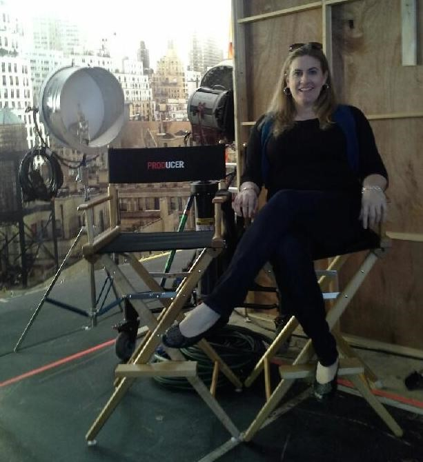 Marcy on the set
