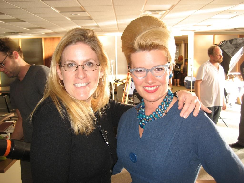 Marcy Patterson with an extra on the Mad Men set