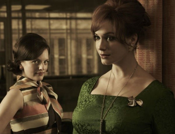 Marcy most relates to Peggy Olson (left), but her coworkers think she's more of a Joan (right).