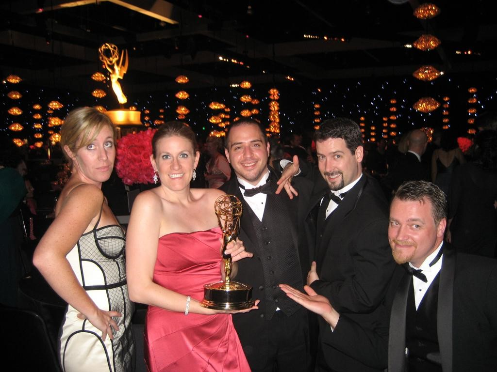 Marcy Patterson (in pink dress) at the Emmys, celebrating Mad Men's Season 1 win for Outstanding Drama Series