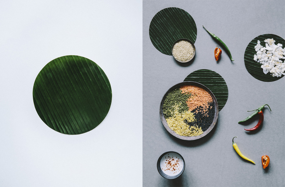AYURVEDIC MEAL.  Warm food sered in a banana leaf absorbs its nutrients and taste – it makes the meal complete. The seeds of earth are small in size, but bears the concept of growth and balance.