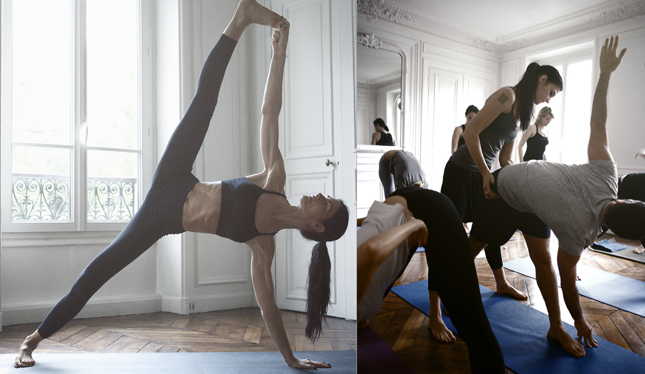 Kia practicing and teaching Mysore in her apartment in Paris 2010.