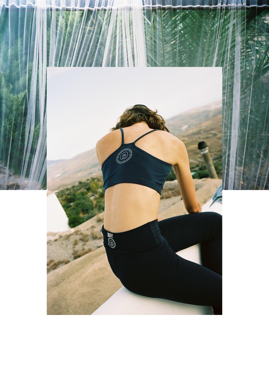 Mysore Yoga Paris Bra Top , Midnight Blue and  Burfitt Mysore Yoga Paris Yoga Legging, Black