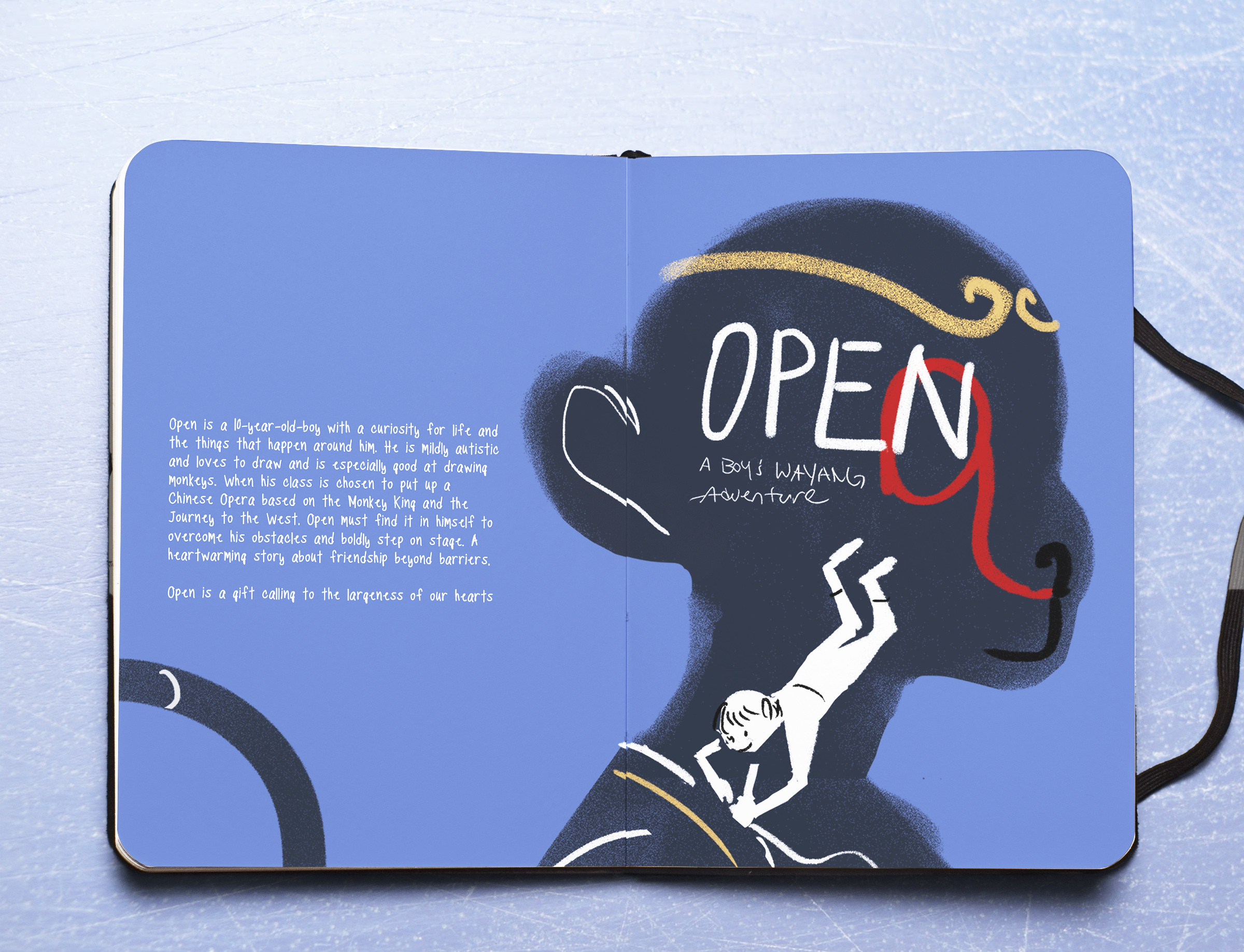 The proposal chosen is a play on positive and negative spaces. Within the monkey king's silhouette, we see open in his safe space drawing the iconic markings of the monkey. The author and editors of the book felt that this resonated with the tone of the book which is filled with positive and negative feelings and Ben's journey to balance his emotions and step out to act as his hero.