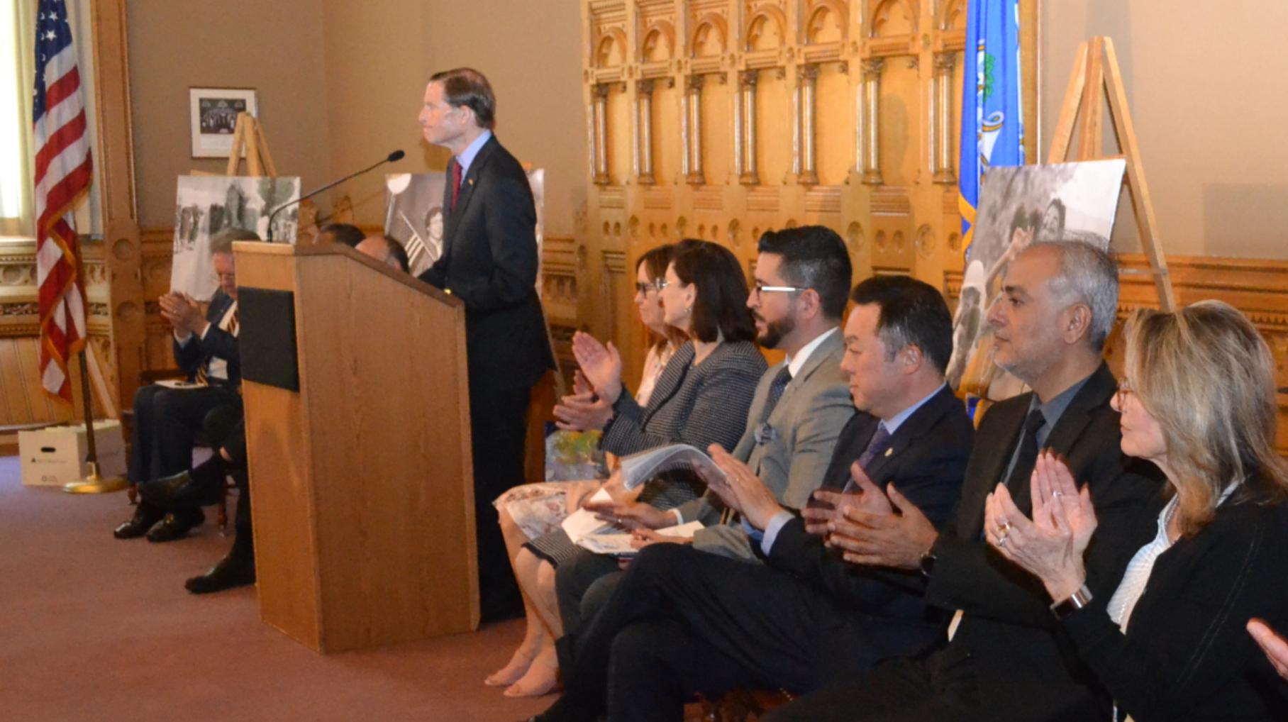 Connecticut U.S. Senator Richard Blumenthal at Immigrant Day ceremonies.