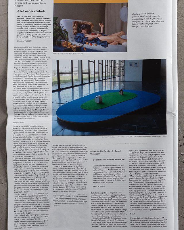 The exhibition 'Festival van de Controle', I curated together with Thierry Vandenbussche got a super review in H art! Thanks to Christine Vuegen for the nice article!  @h_art_magazine #festivalofcontrol #CCHA #groupshow with:  #FrancisAlÿs(BE/MEX), #MéméBartels(NL), #RubenBellinkx (BE), #RoelienBrink(ZAF), StefanBrüggemann (MEX), Guy Cassiers (BE), ConstantDullaart (NL), Fischli & Weiss (CH), # KendellGeers (ZAF/BE), MaartenInghels (BE), MatthewLeifheit & #CynthiaTalmadge(US), #ArianeLoze (BE), #TausMakhacheva(RUS), #SimonMenner (DE), #ZachNader(US), The Office for Joint Administrative Intelligence (OJAI) - #ChrisDreier (DE) & #GaryFarrelly(IRL/BE), #AmaliaPica(ARG/UK), #AnnaïkLouPitteloud(CH/BE), #CorinnaSchnitt (DE), #RomanSigner(CH), #LisavanCasand(NL), #BenVandenBerghe (BE) & #AlexeyShlyk (RUS/BE), #ChaimvanLuit(NL), #SarahVanMarcke(BE), #RobWetzer (NL)  and: solo show: Sine Van Menxel Dries Segers Exhibition from 24/03 to 16/06