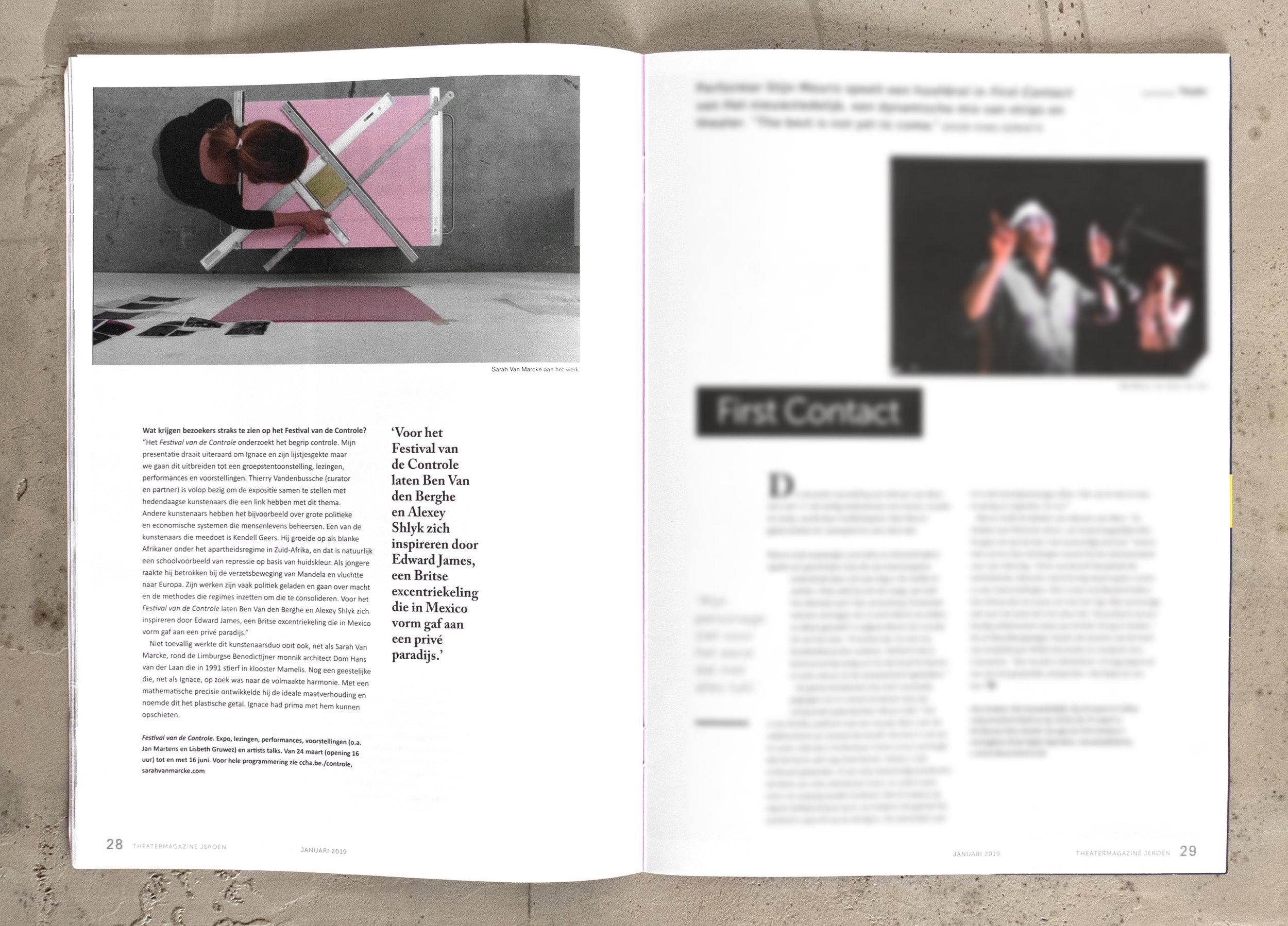 In-dept interview about 'Het Festival van de Control', Jeroen magazine, jan. 2019
