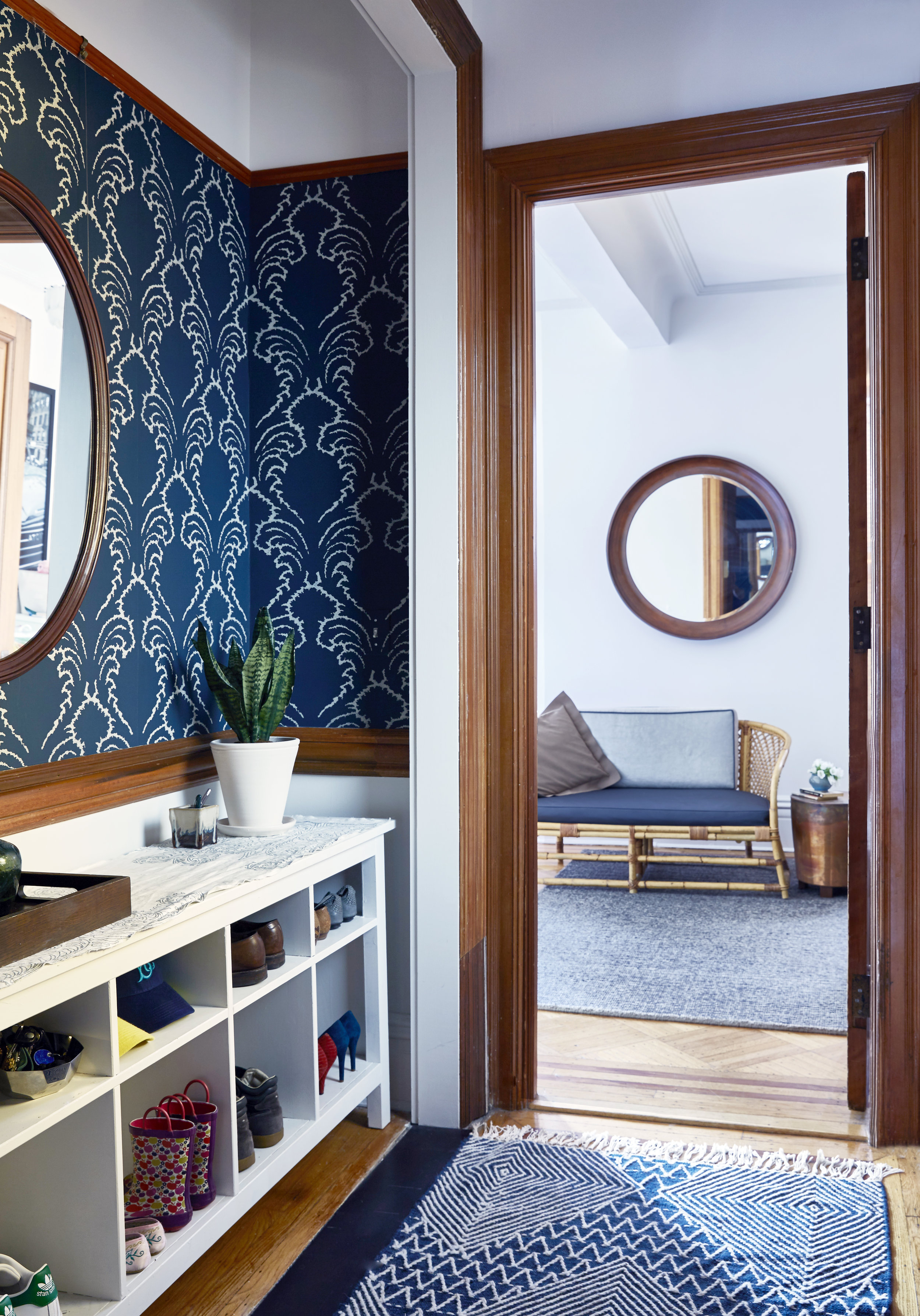 Navy Blue Wallpaper Park Slope JMorris Interior Designer Brooklyn Entryway