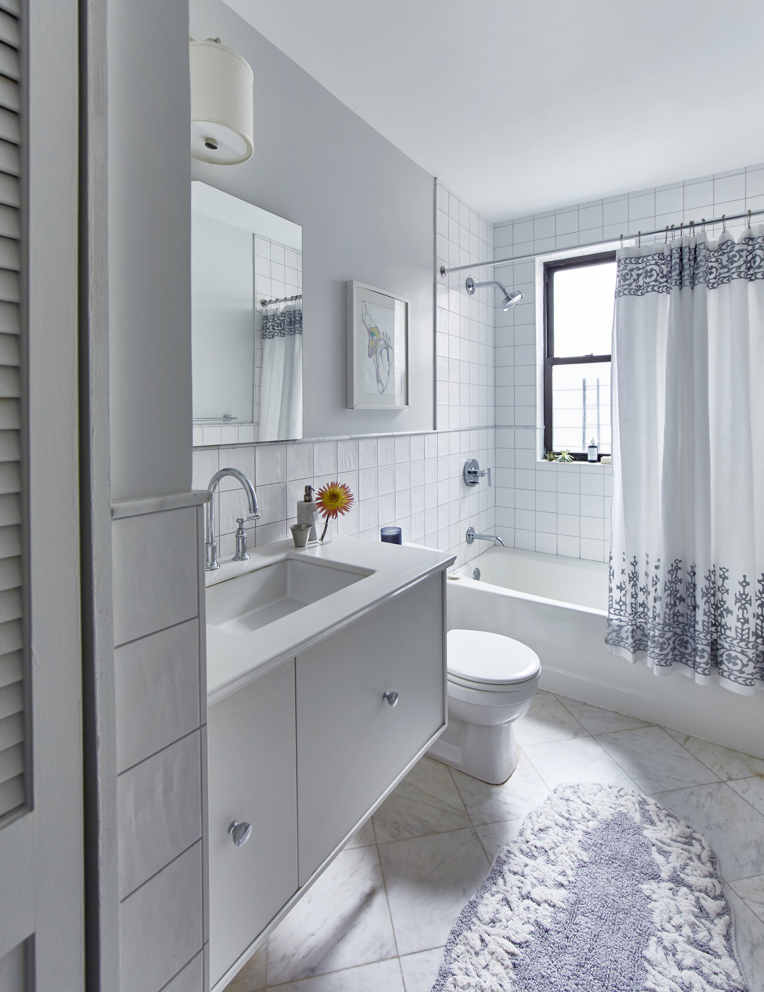 Modern Vintage Bathroom White Tile Brooklyn Park Slope JMorris Interior Design