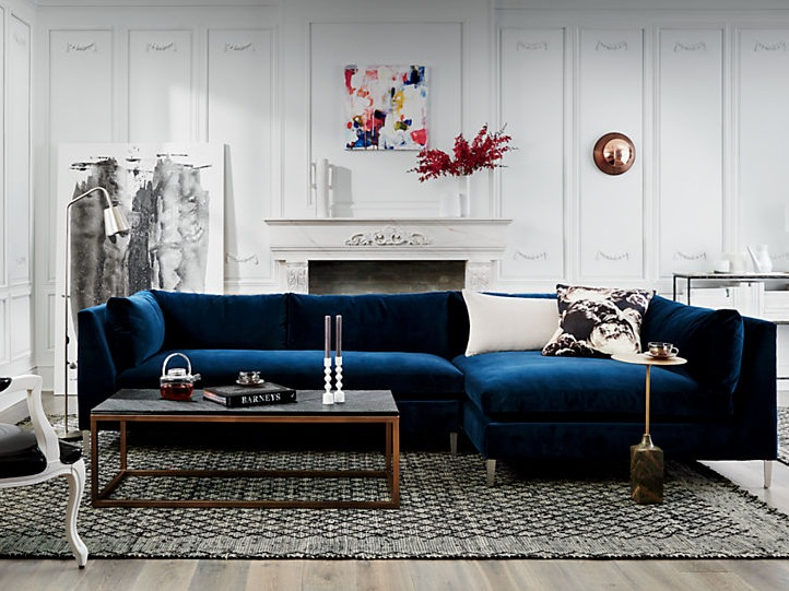 The Decker 2 Piece Blue Velvet Sectional Sofa  by  CB2 .