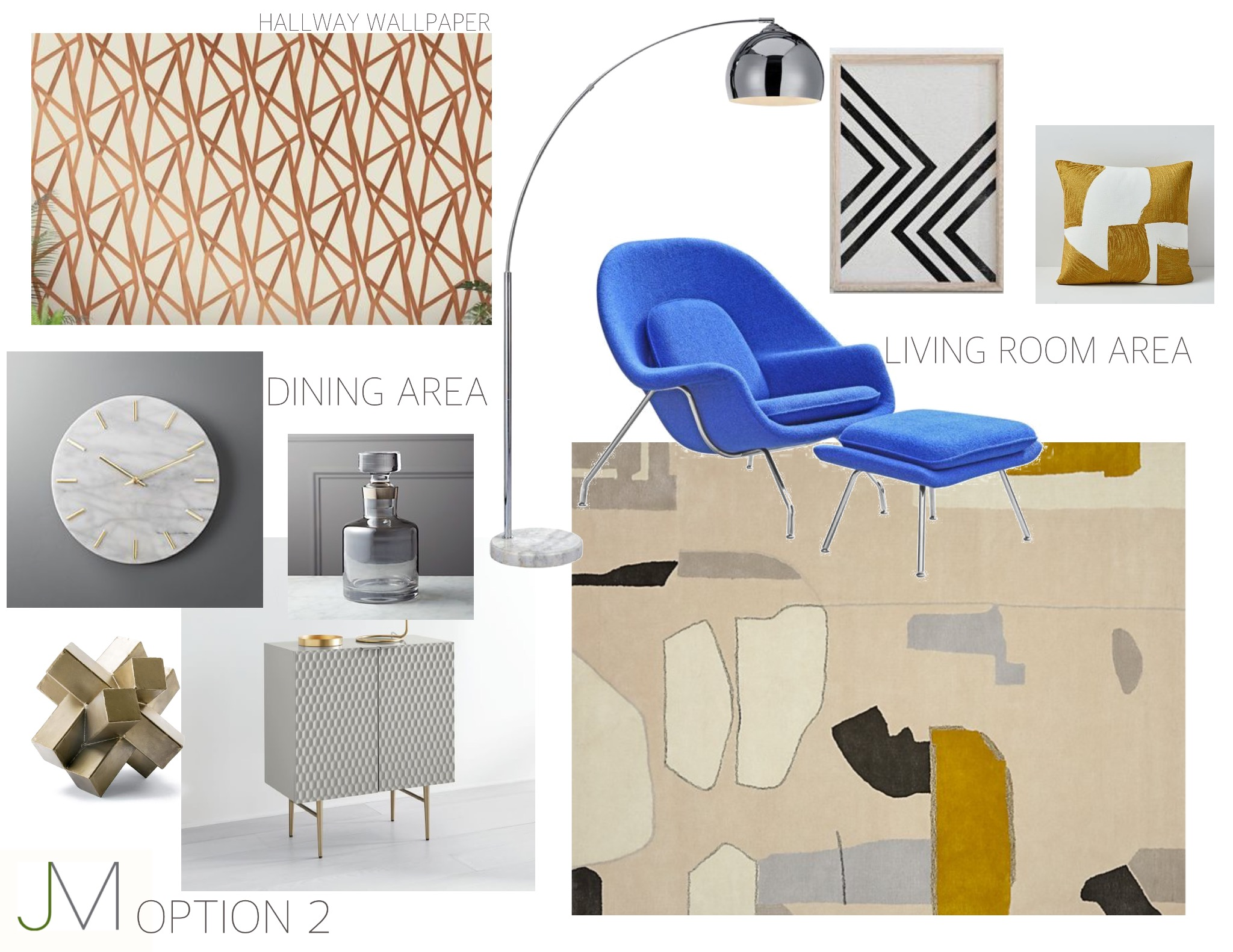 Bold Blue and Brass - Neutral tones accented with brass keep it clean and fresh, while a dramatic, bright blue lounge chair keep it feeling luxurious and unique.
