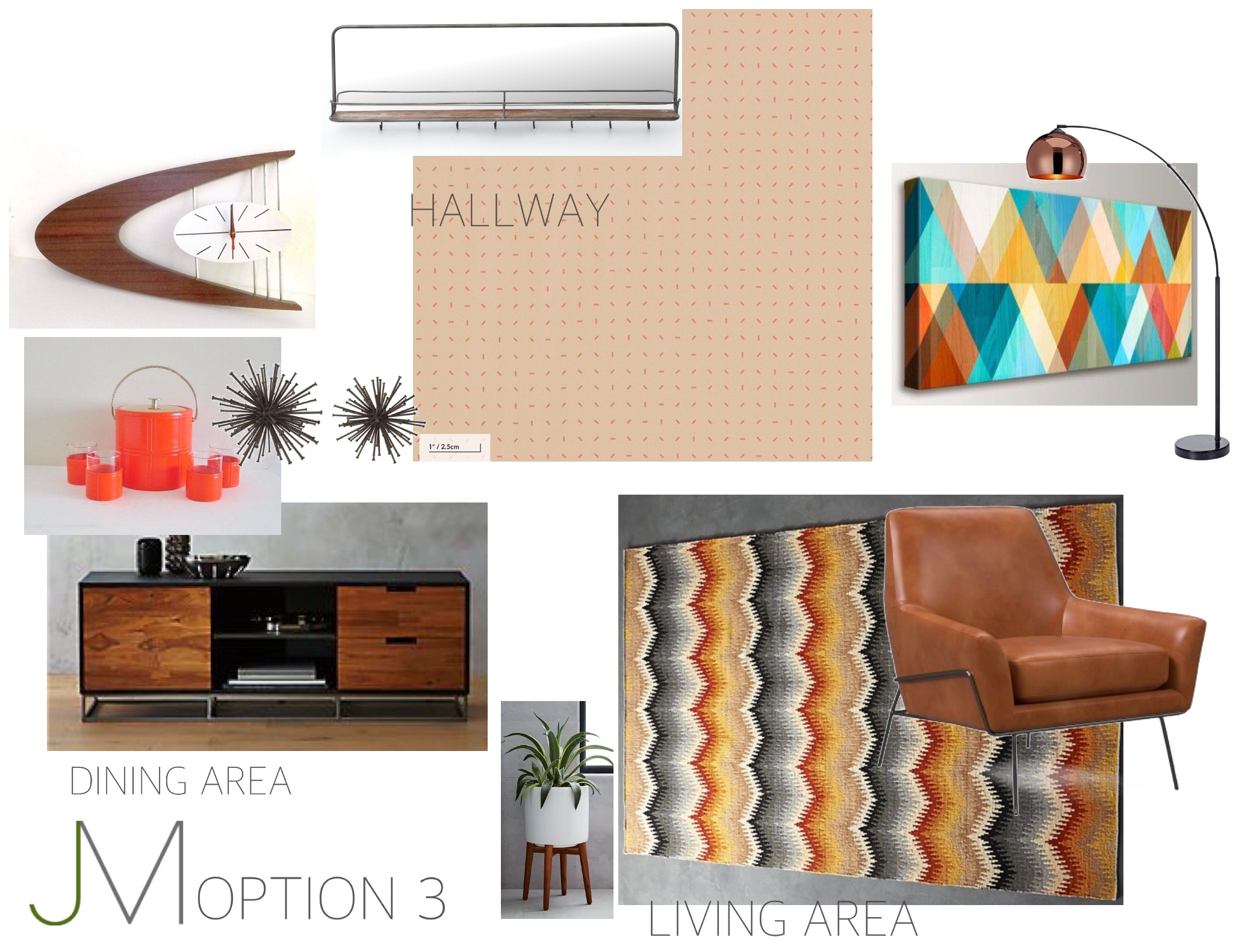 Space Age Superstar - Genuine, vintage accessories such as wall clocks and mini-bar must-haves compliment and high contrast concept of dark wood, technicolor wall art and leather furniture.