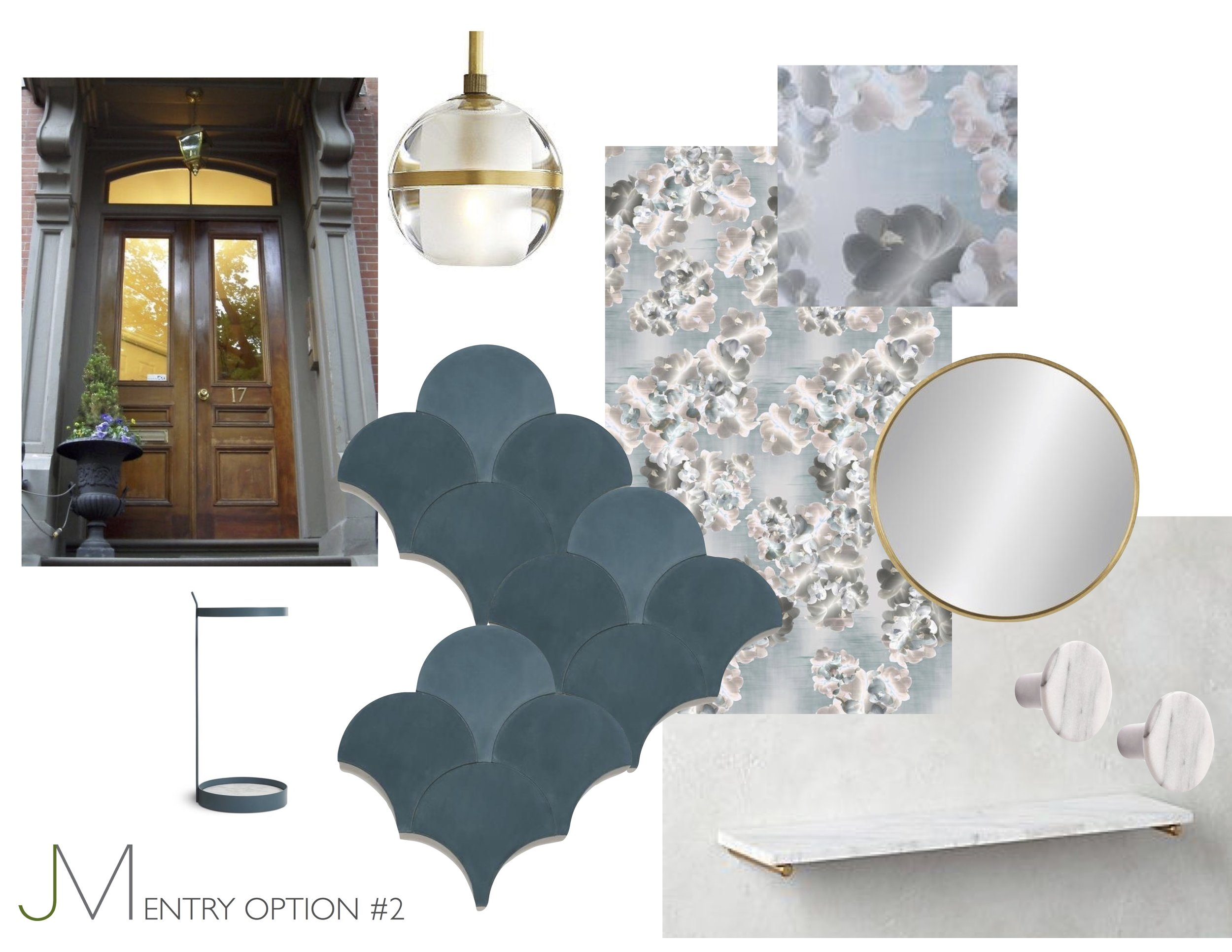Dreaming in the Sea and Sky - Watercolor style wallpaper evokes both water and sky - and concrete scale tiles in teal are a reminder of the mystery and beauty of the ocean. Brass and marble accents provide an urban, luxury touch.