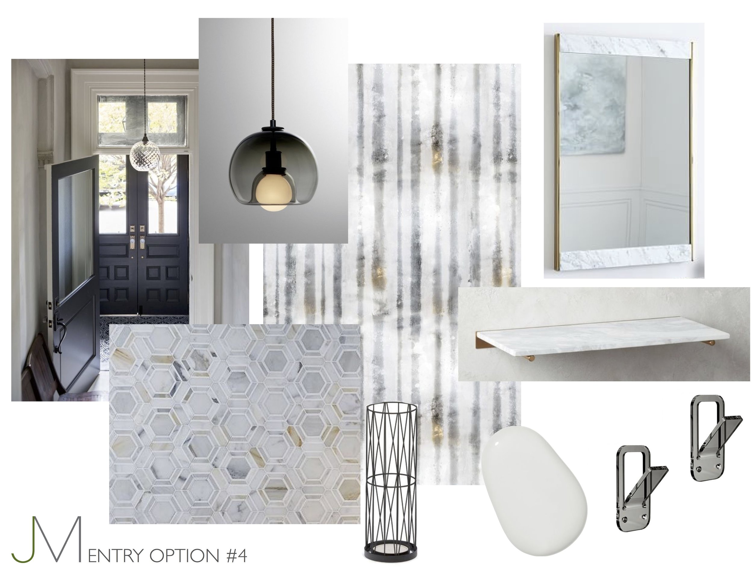 Iridescent Luxury - Walking into this entry is like taking a mind trip to marble quarries in Italy, the ultimate luxury walking in the door. The wallpaper plays off the tones in the tile and the light fixture ties them both together beautifully.