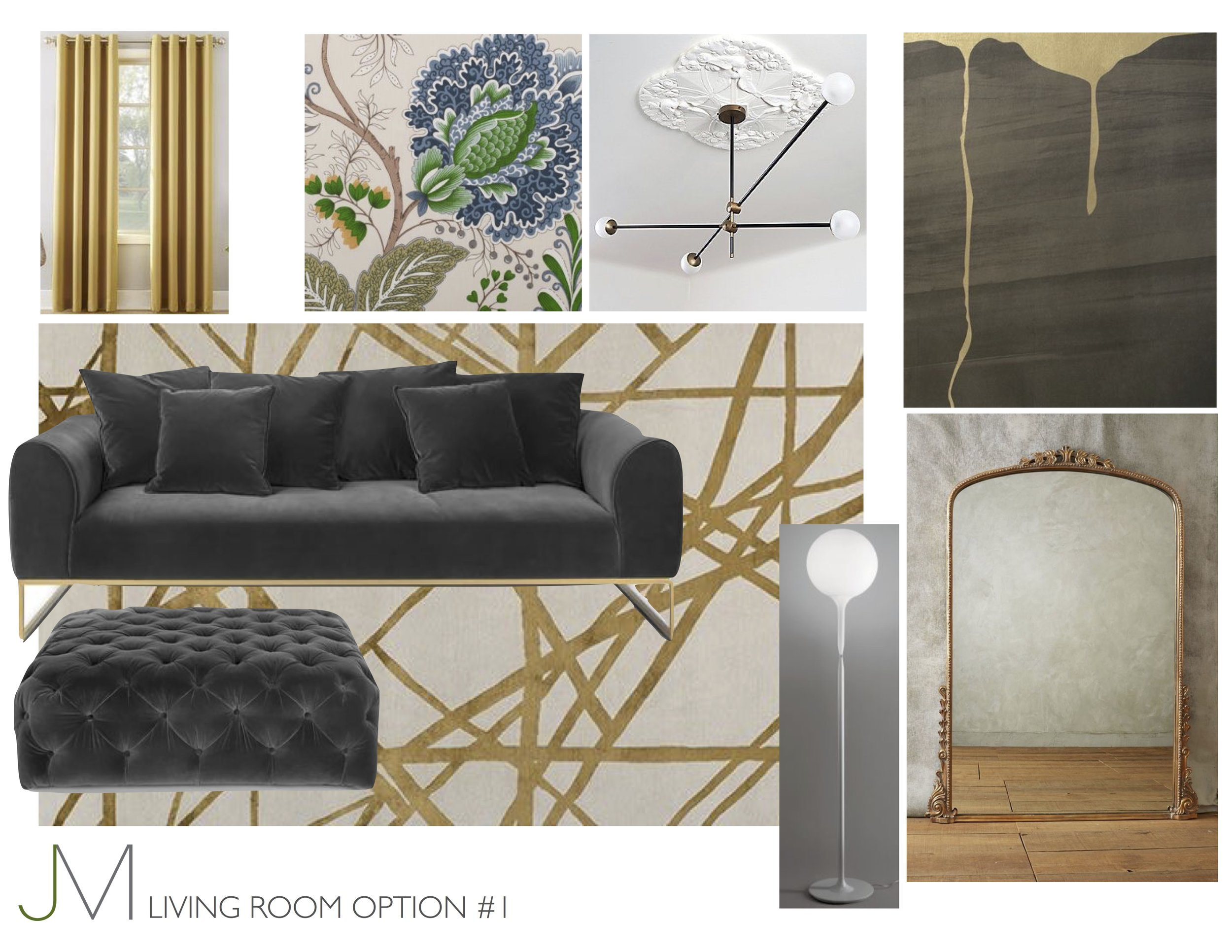Dripping with Good Times - Sink into a deep charcoal, velvet sofa, legs up on an oversized ottoman, and gaze up at golden wallpaper while sipping on a Manhattan? Yes, please!
