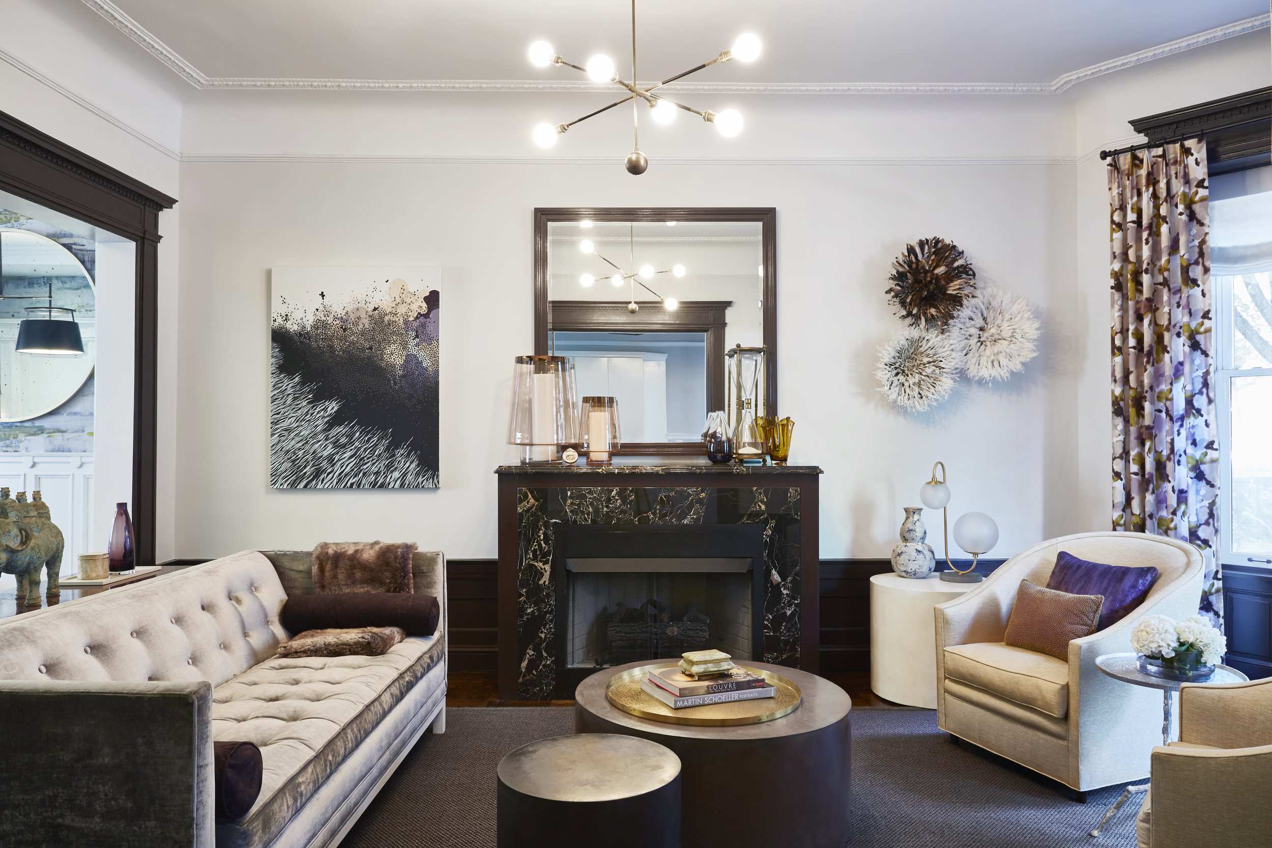 Our eclectic yet timeless living room from our ' Park Slope Glam ' project.