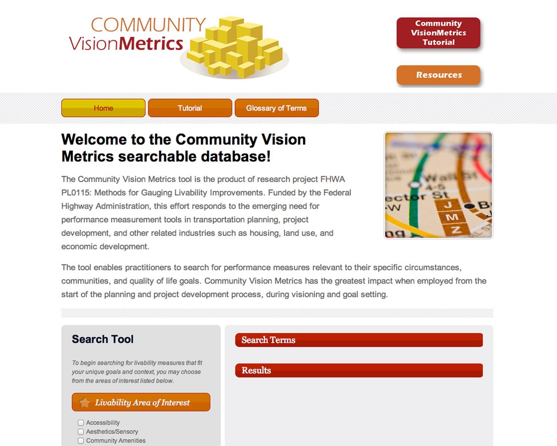 FHWA Community Vision Metrics Tool