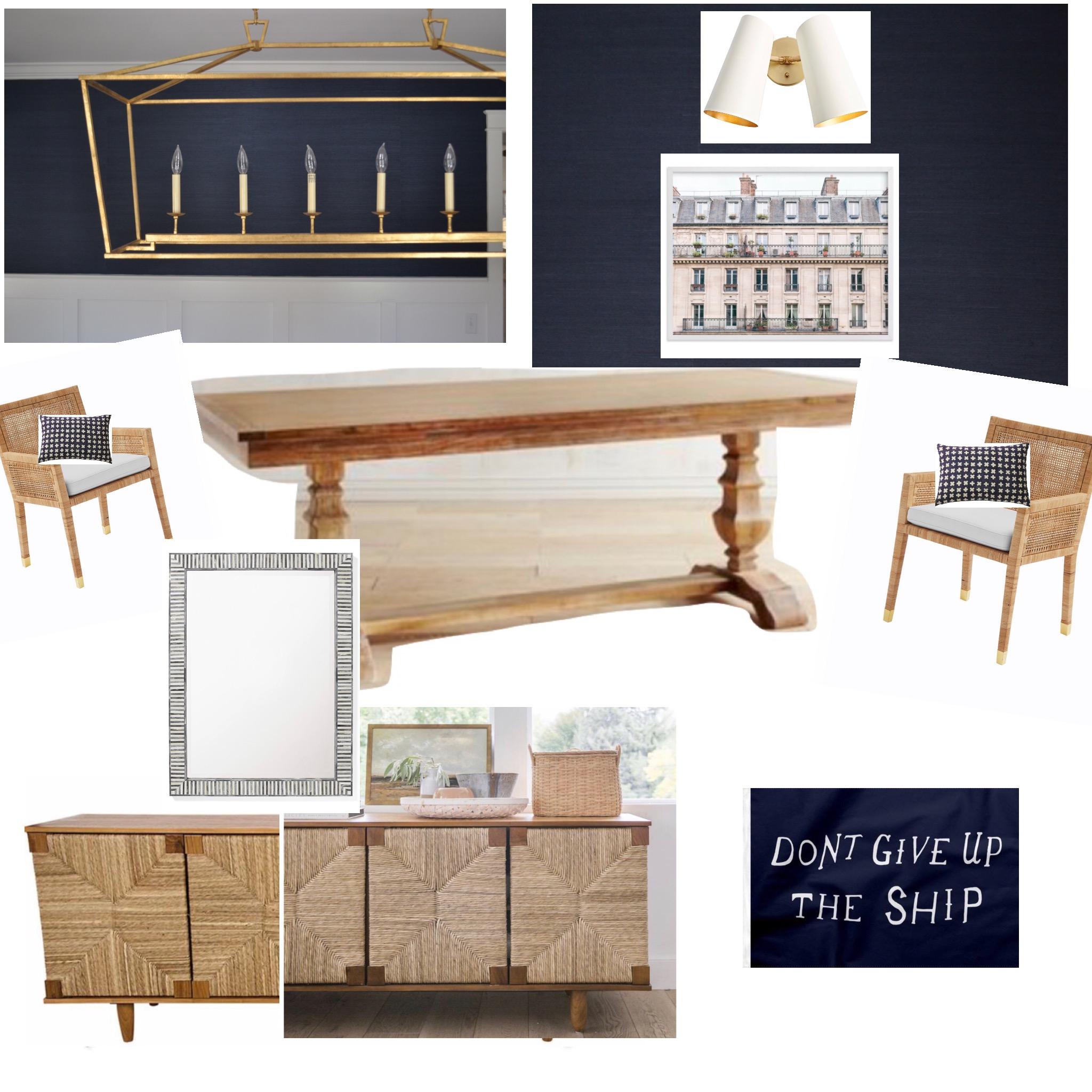 Coastal Navy Wood and White Dining Room Inspo