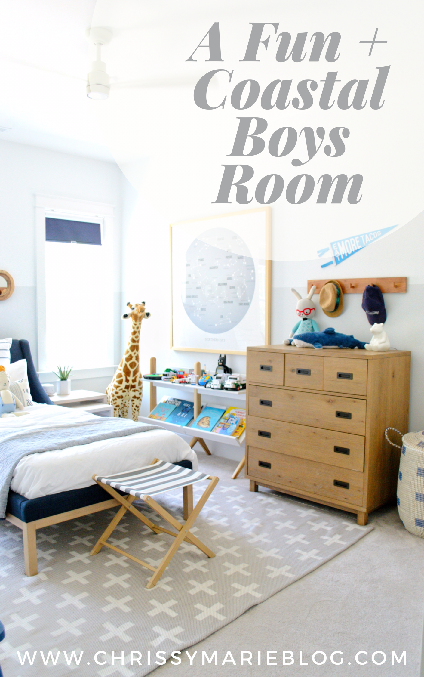 Sharing A Costal and Fun Boys Bedroom On The Blog