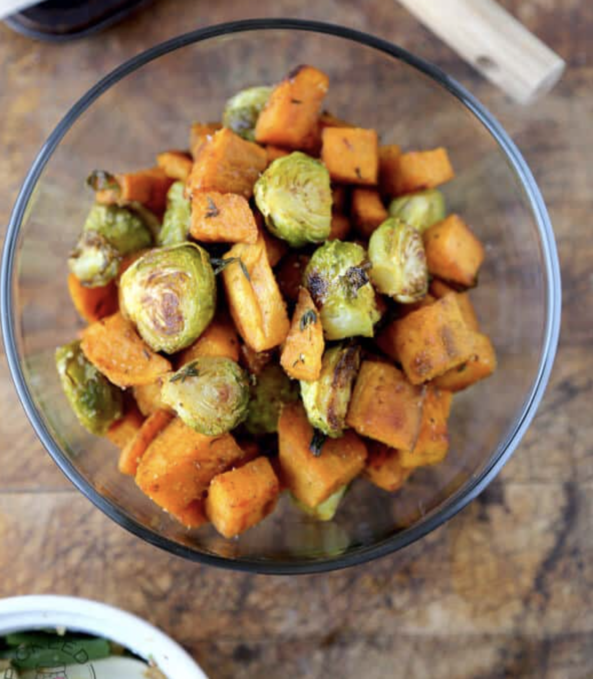 Oven Roasted Sweet Potatoes and Brussels