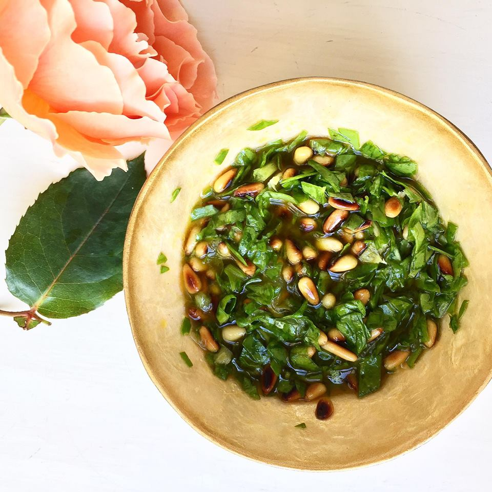 HERBY DRESSING WITH ROASTED PINE NUTS by Mamma Jones