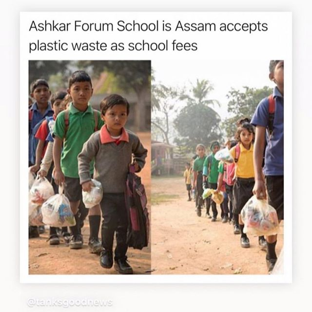 I love love love love this. So very clever ! The children get to go to school and the plastic is being cleared away. 🙏👍🏻 this is a sustainable solution. No child should work , be exposed to trafficking or abuse ! My heart breaks for these tiny little children but I also feel so much hope ❤️❤️❤️ . . . #india #motherearth #noplasticbags #zerowaste #doterralemongrass #doterra #zerowasteliving
