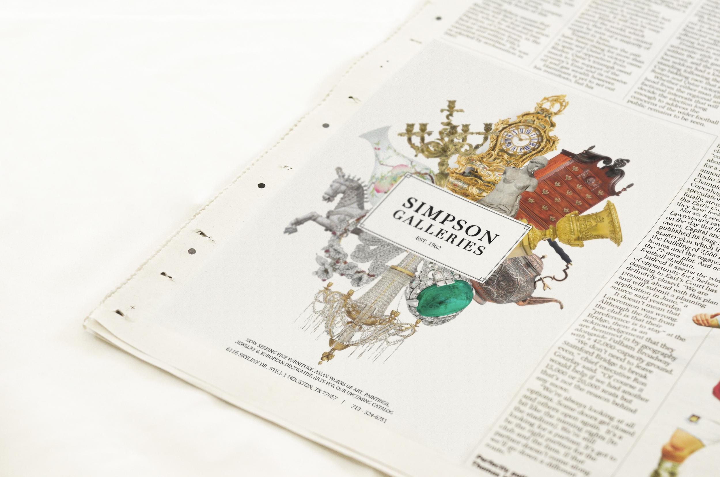 Simpson Galleries Print Newspaper Advertisement