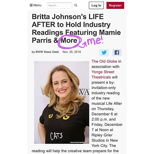 """Oh jeez, been biting my tongue for toooo lonngggg about this!  Excited to play 'Alice' in this beautiful new musical """"Life After"""" by the brilliant Britta Johnson. We start our NY workshop on Monday before bringing it to the Old Globe in March! BLEEEP!  Hit me up if you wanna spend some of your winter with me in the San Diego sun =) My hands are so sweaty just thinking about it, AH."""