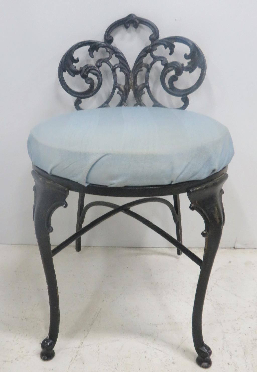 French Style Black Metal Vanity Chair Sonty Johns Antiques