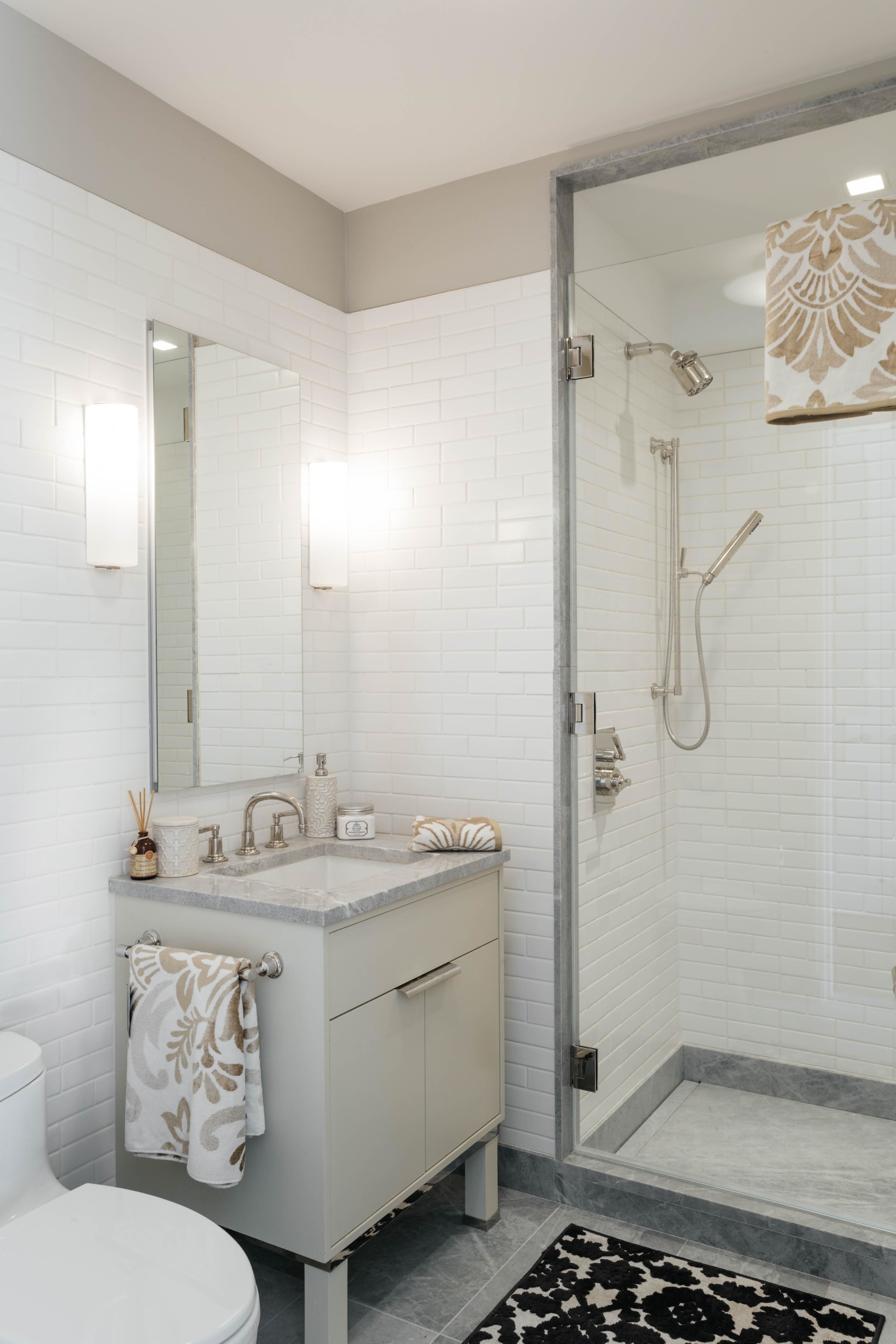 Bathroom with walk in standing shower and sink