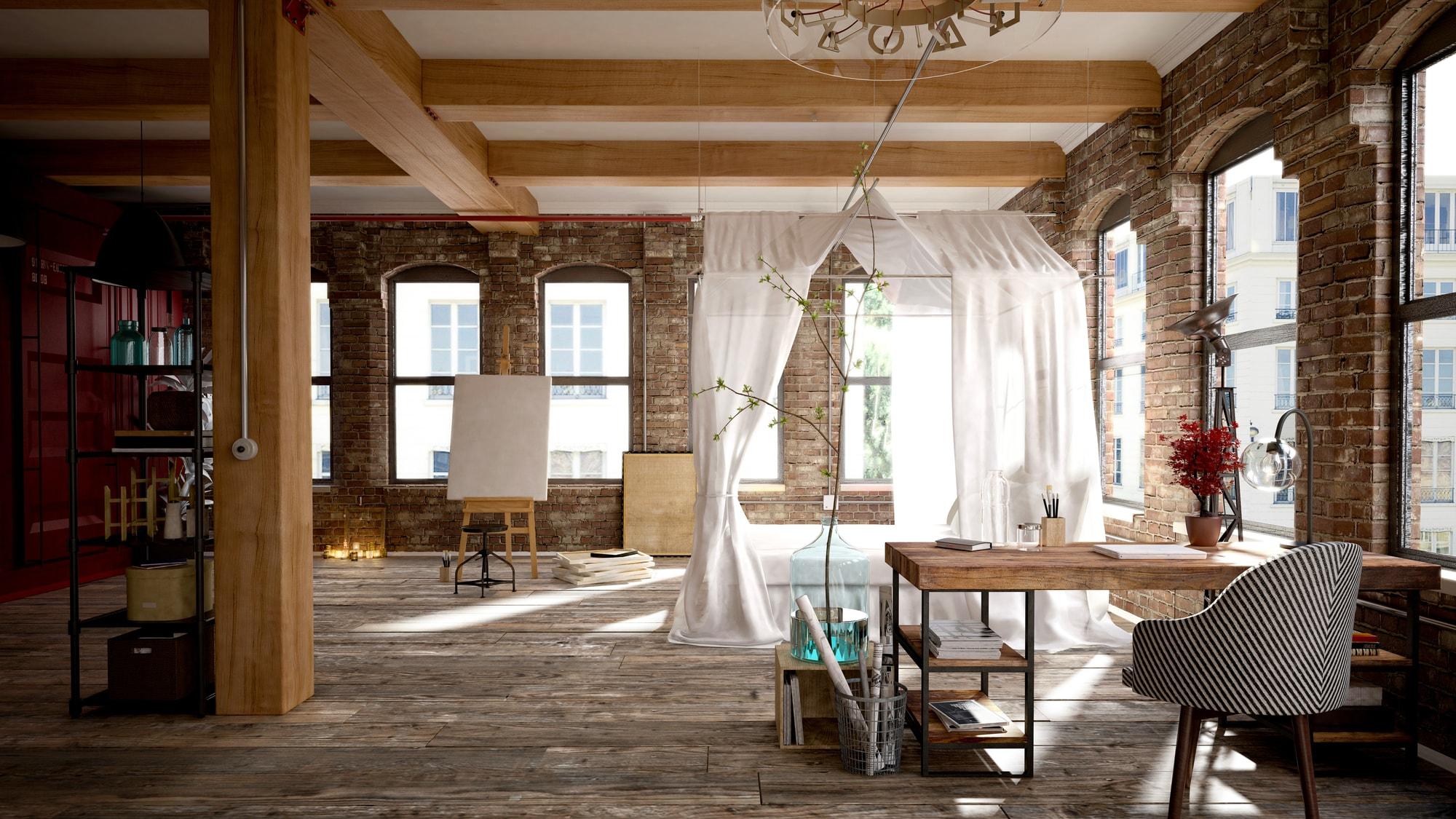 Open concept brick loft work space